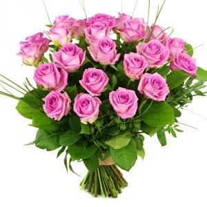 25 roze rozen + blad 2014070435